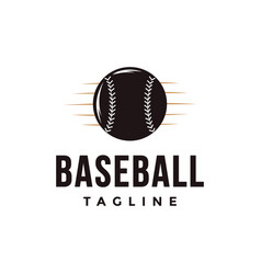 Vintage baseball logo with ball icon vector