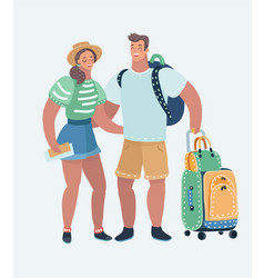 young loving couple traveling vector image