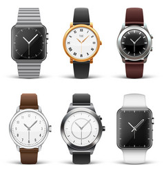 Classic watches isolated on white set vector image vector image