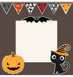 Cute Halloween party card vector image