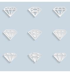 Diamond Paper Icons vector image