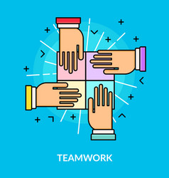 flat teamwork and partnership concept vector image vector image