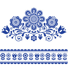 Scandinavian folk art pattern with flowers vector