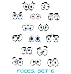 Cartoon blue eyes with different emotions vector image
