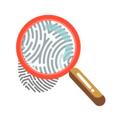 fingerprint with magnifying glass isolated on vector image