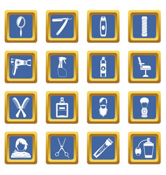 Hairdressing icons set blue vector