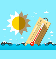 hot summer temperature thermometer in sea waves vector image