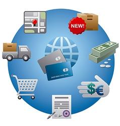 internet shopping icon set vector image