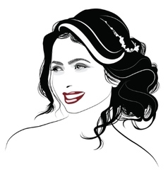 Portrait of a girl with long hair - vector image