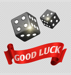 realistic casino dice and red good luck banner vector image vector image