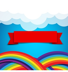 Red ribbon banner on rainbow clound and sky vector image vector image