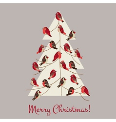 Retro Christmas Card - Winter Birds on Christmas T vector image