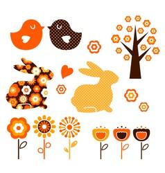 Retro spring easter design vector image