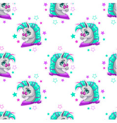 Stylish seamless pattern with cute cartoon pony vector