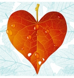autumn heart and seamless vector image vector image