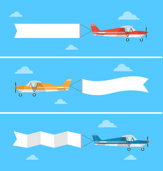 light plane pulling a banner in a flat style vector image