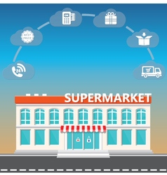 Shop supermarket on the roadside vector image