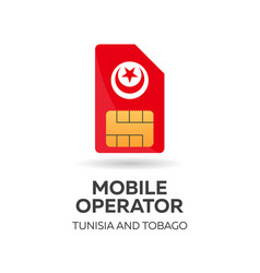Tunisia and tobago mobile operator sim card with vector