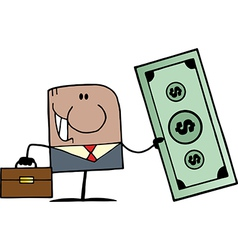 African American Doodle Businessman Holding Dollar vector image vector image