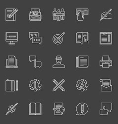 copywriting outline icons vector image