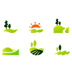 Rolling hills icons vector image vector image