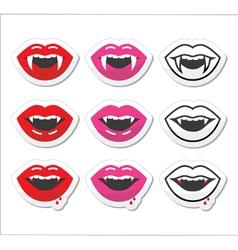 Vampire mouth vampire teeth labels set vector image vector image
