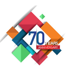 70 years anniversary design colorful square style vector