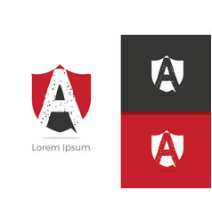 a letter logo letter a in shield icon vector image