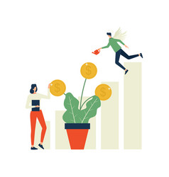 Angel investor and businesswoman caring money tree vector