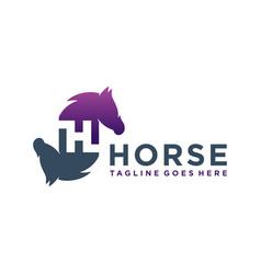 Animal logo design horse letter h vector