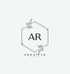 Ar beauty initial logo art handwriting logo vector