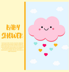 baby shower card design template with cute pink vector image