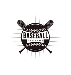 baseball logo with crossed wooden bat and ball vector image