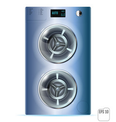 blue steel front load double washing machine vector image