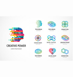Brain creative mind learning and design icons vector