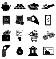 Business money icons set vector image