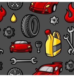 Car repair seamless pattern with service objects vector image vector image