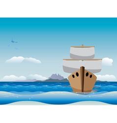 Cartoon boat in the sea vector