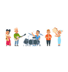 Cartoon child band cute kid orchestra with happy vector