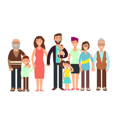 cartoon smiling happy family grandpa and grandma vector image