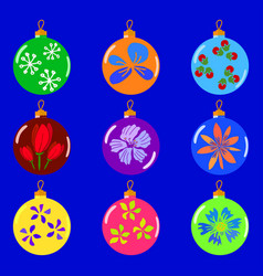 christmas colorfull toys set vector image