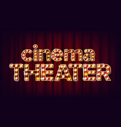Cinema theater banner cinema glowing lamps vector