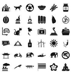 Clever elephant icons set simple style vector