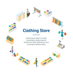 clothing store interior with furniture banner card vector image