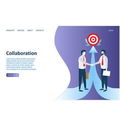 collaboration website landing page design vector image