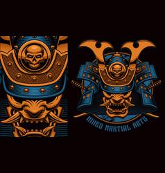 Colorful a samurai mask vector