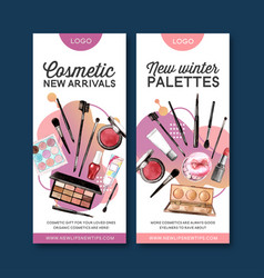 Cosmetic flyer design with highlighter lip tint vector