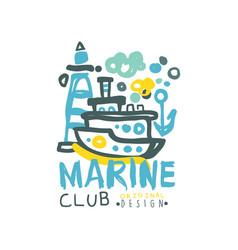 creative sea club logo design template with vector image