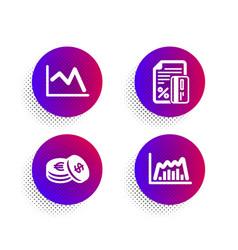 Credit card savings and line chart icons set vector