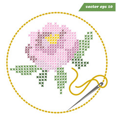 cross stitched peony flower with round frame and vector image
